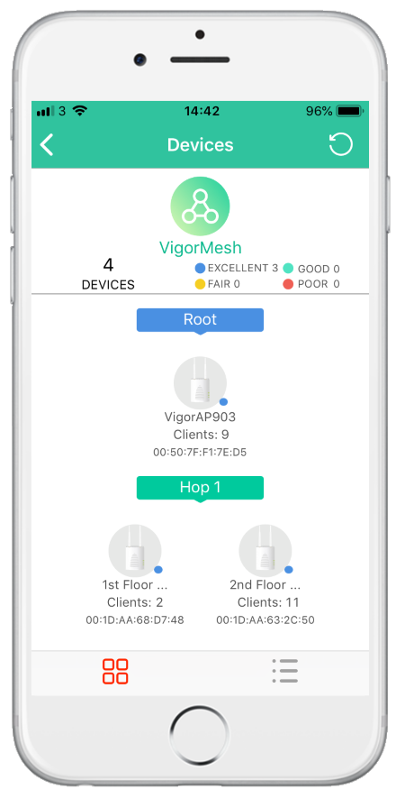 View the Mesh Wireless status from the DrayTek Wireless app