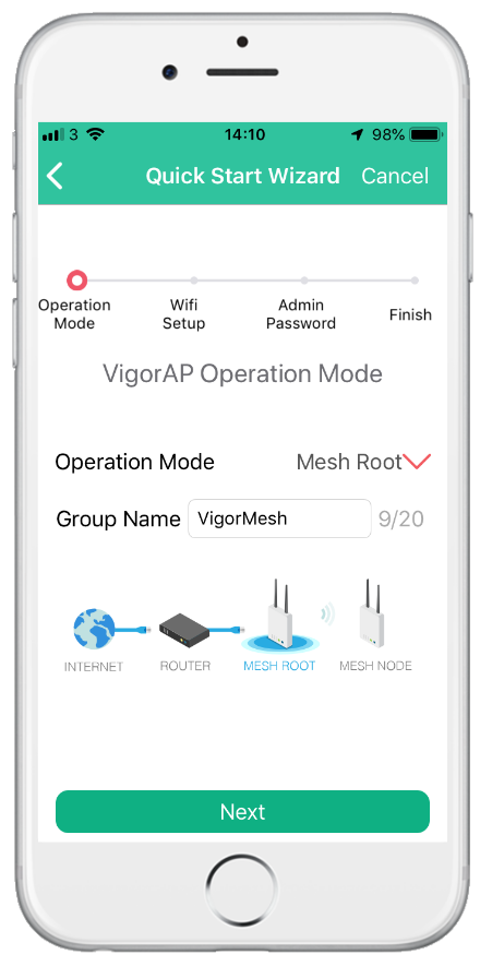 Use the DrayTek Wireless app to set up a VigorAP 903 as a Mesh Root. Additional VigorAPs are added into the Mesh network during the setup process